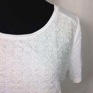 Talbots White Crochet Overlay T-Shirt Large Petite